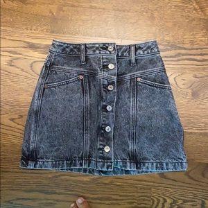 Black acid wash Abercrombie denim skirt